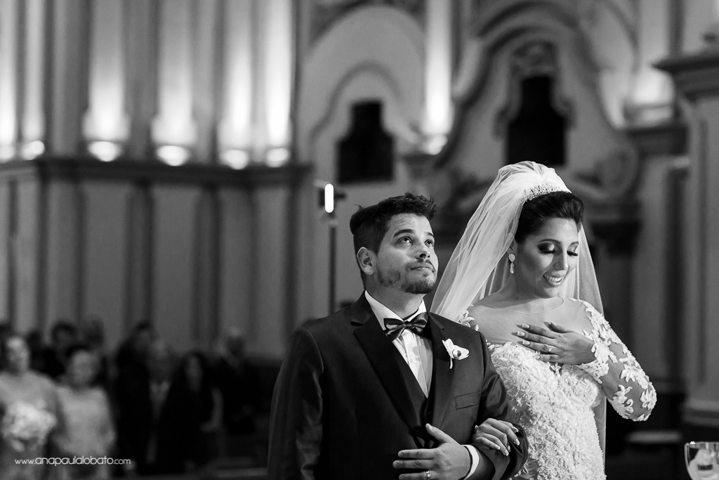 Emotional moment for bride and groom in the wedding ceremony
