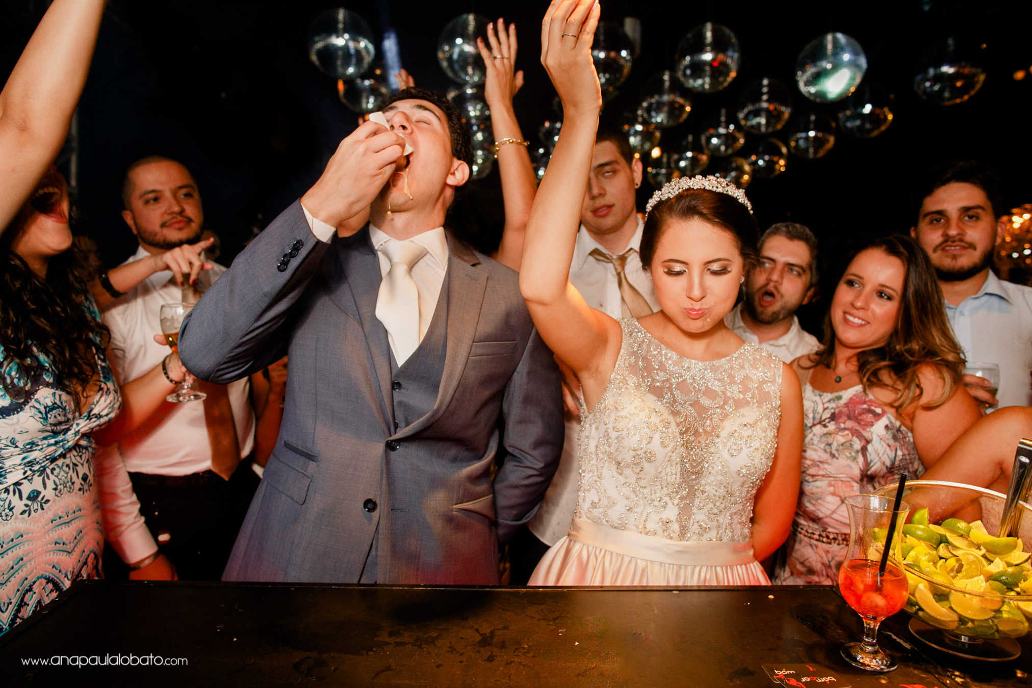 Bride and groom have a special toast with shots