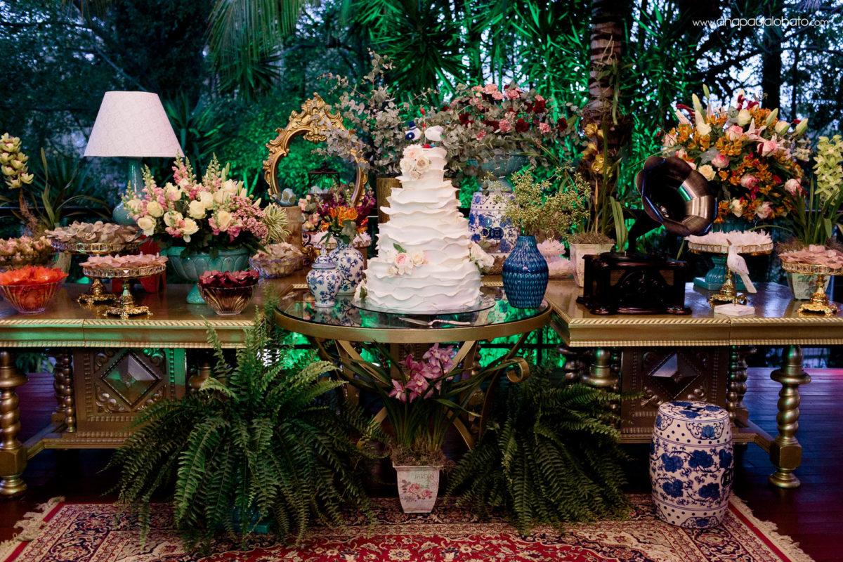 decoracao mesa bolo casamento
