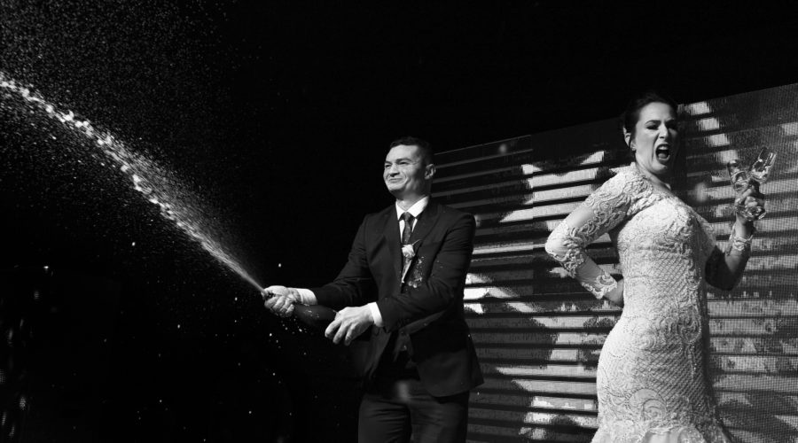 Groom makes the perfect wedding toast with champagne