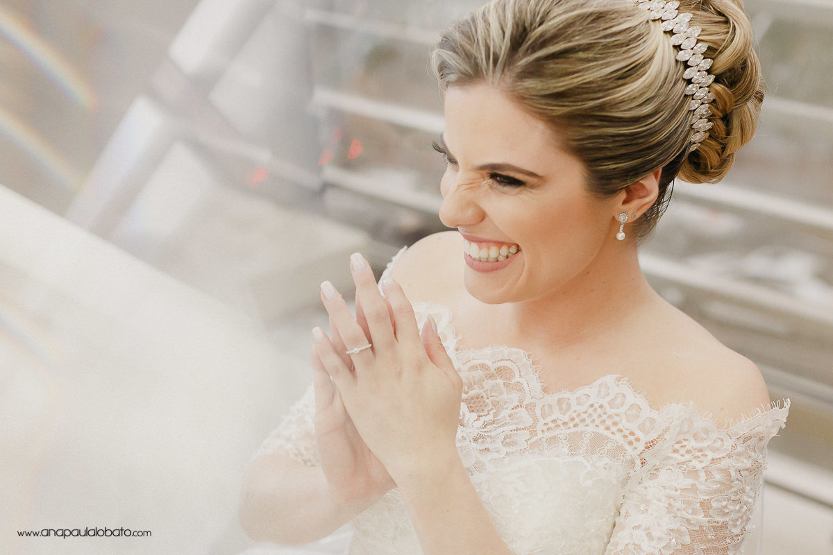 happy expressive bride