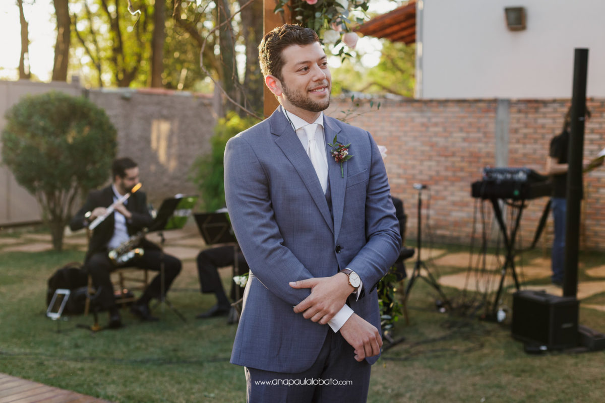 american groom waits for bride
