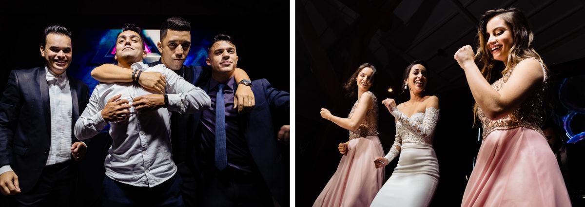 friends having fun in modern wedding