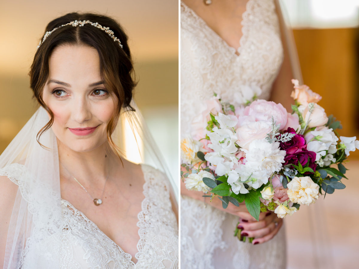bride flowers and dress
