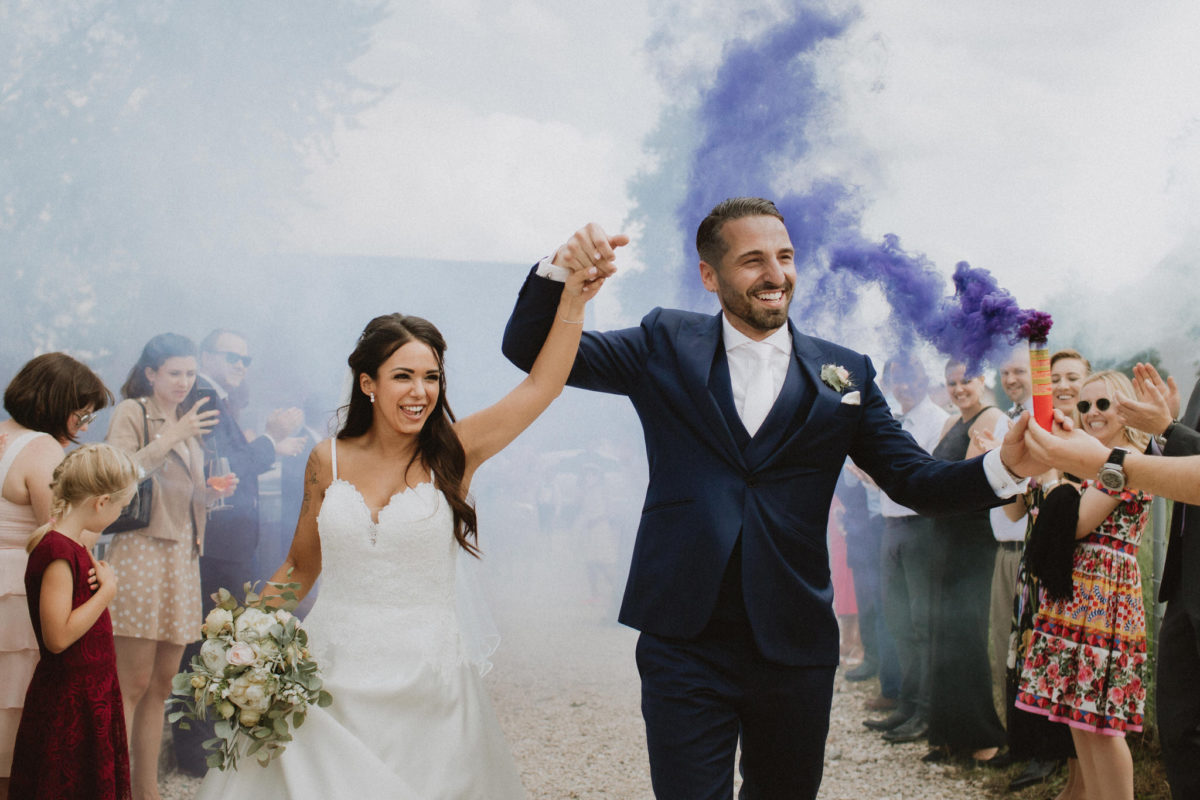 colored smoke bombs wedding