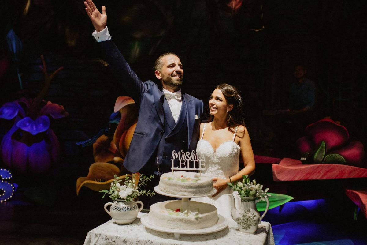 couple having fun in their wedding
